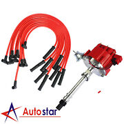 For Bbc Sbc 350 305 454 V8's Hei Distributor And 10.5 Mm Red 90 Spark Plug Wires