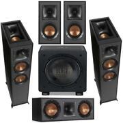 Klipsch Reference R-625fa 5.1 Home Theater Pack, Black Textured Wood Grain Vinyl