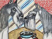 Miniature Schnauzer Collectible Art Pint 5 X 7 Signed Vintage Style Coffee Dogs