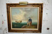 J. Perrine Signed Oil Painting On Canvas Nautical Fisherman Boy Boat Framed Art