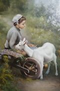 W Signed G Rogers Oil Painting Old Fashioned Portrait Girl And Lamb Framed Art