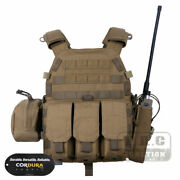 Emerson Modular Molle Plate Carrier Tactical Vest Combat Gear + Mag Radio Pouch