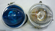 Vintage Bubble Eye Cobalt Blue Clear-amber Airport Airplane Runway Guides Lights