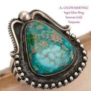 A+ Calvin Martinez Turquoise Ring Sonoran Gold 7 Sterling Silver Ingot