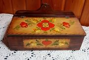 Vintage Handcrafted Folk Art Tole Painted Floral Wooden Box Bread/sewing/ Etc.