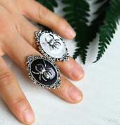 Vintage Spider Crystal Oval Ring Victorian Vampire Halloween Gothic Pagan Ring