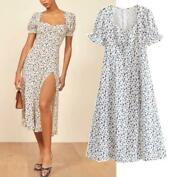 Floral Women's Midi Dress Beach Short Puff Sleeve Party Summer Vintage Country
