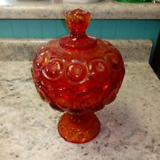 Le Smith Moon Stars Red Glass Covered Compote Dish Jar Canister Jardiniere Lid