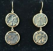 18k Yellow Gold Drop Earring Ancient Greek Bronze Coins By Motoni