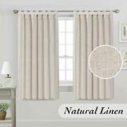 Natural Linen Curtain Privacy Tab Top Light Filtering Drape For Bedroom, 2 Panel