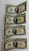 Lot Of 4 1934 A 10 Dollar Au Consecutive North African Yellow Seal Noteand039s K067