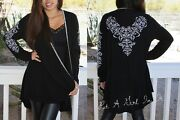 Vocal Women Plus Size Solid Black Crystal Floral Cardigan Sweater Tunic 1x 2x 3x