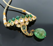 Antique Indian Elephant Face Emerald And Gemstone Silver And Gold Necklace