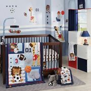 Lambs Ivy Future All Star 5 Pc Baby Nursery Crib Bedding Set W/ Musical Mobile