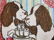 13 X 19 Art Print English Springer Spaniel Collectible Hoarding Signed By Artist