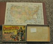1887 Antique Dissected Map Of The United States Puzzle Complete In Box