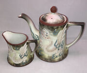 Antique Nippon Porcelain Hand Painted Dragon Tea Pot And Tray With Creamer Dish