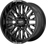 5- 20 Inch Milled Black Wheels Rims Lifted Jeep Wrangler Moto Metal Mo802 20x10