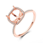 Solid 18k Rose Gold Real Diamonds Halo Ring Cushion Cut 8x8mm Semi Mount Jewelry