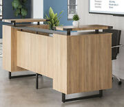 Mordern Receptionist Station With Glass Top Counter And Metal -reception Room Desk