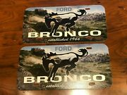 Ford Bronco Established In 1966 Kicking Horse In Field Promo License Plates 2x