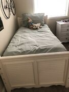 2 Antique White Twin Beds Cottage Style Headboard, Footboard, Frame Only