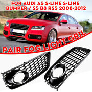 Honeycomb Front Fog Light Grille Grill Cover For Audi A5 S-line S5 B8 Rs5 08-12