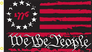 Betsy Ross 1776 We The People Black And Red Usa American 2x3 Flag Rough Texandreg 100d