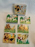 Vintage 6 Sided Farm Scenes Animals Wood Lithograph Puzzle Blocks In Box