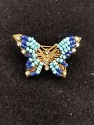 Costume Jewelry Eugene Style Beaded And Rhinestone Butterfly Broach 1920-1940s