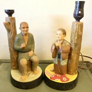 Antique Japanese Figurine Lamps, Fisherman And Lady Sewing