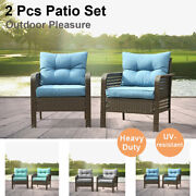 2 Pieces Outdoor Patio Furniture Set Sectional Sofa Rattan Chair Wicker Couch Us