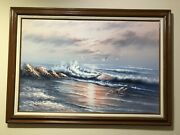 Oil Painting Of The Ocean At Sunset With Seagulls.