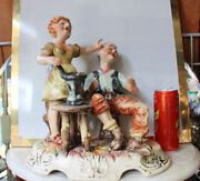 Rare Xl Huge Capodimonte Porcelain Scene Of Couple Figure Made In Italy Signed