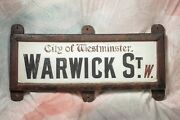 Antique London Street Sign - Porcelain Over 1andrdquo Marble - From City Of Westminster