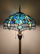 Enjoy Style Floor Lamp Dragonfly Greenandnbsp Blue Stained Glass Antique 64andrdquoh
