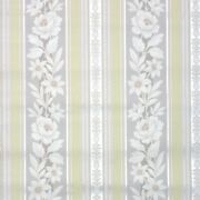 1940s Vintage Wallpaper Floral Stripe Wallpaper White Flowers On Yellow And Gray