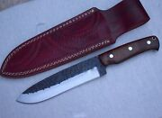 Ok 1095 High Carbon Steel Handmade Hand Forged Hunting Knife And Wood Handlein