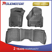 Black Rubber Liners Floor Mats All Weather Kit For 09-18 Dodge Ram 1500 Crew Cab