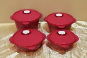 New Tupperware Set Of 4 Microwave Reheatable Bowls 2.5-4-6-8 Cups Maroon Color