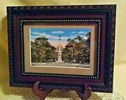 Confederate Monument Postcard Vintage Matted Framed State Capitol Raleigh Nc 37.
