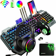 Wireless Rechargeable Gaming Keyboard Mouse + Rgb Headset Sets Rainbow Backlit