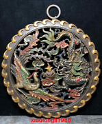 China Old Antique Hollowing Out Wood Tire Dragon And Phoenix Hanging Screen