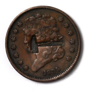 1835 1/2c Classic Head Half Cent Rare United States Coin Hammer Counterstamp