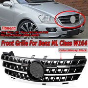 Front Bumper Grill 3 Fin Grille For Benz Ml Class W164 Ml320 Ml350 Ml550 2005-08