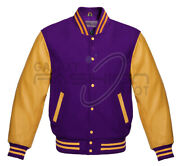 Varsity Letterman Bomber Jacket High Quality Wool And Cowhide Real Leather Sleeves