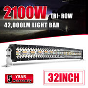 9d Tri-row 32inch 2100w Curved Led Light Bar Spot Flood Combo Offroad Vs 30 35