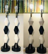 Table Lamps Pair Of Frederick Cooper 33 Tall Turned Wood Elegant Vintage