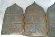 Antique Russian 19th Century Brass Quadriptych Traveling Icon-great Condition