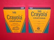 Vintage 1960's 2 35 Cent Boxes 16 Crayola Crayons Old Store Stock Mib Mint Nos